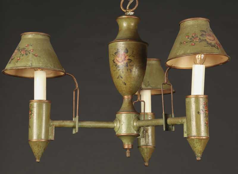 Directoire style green tole 3 light chandelier with floriate decorations on  center, shade, attached tole shades - Directoire Style Green Tole Chandelier French Antique Shop