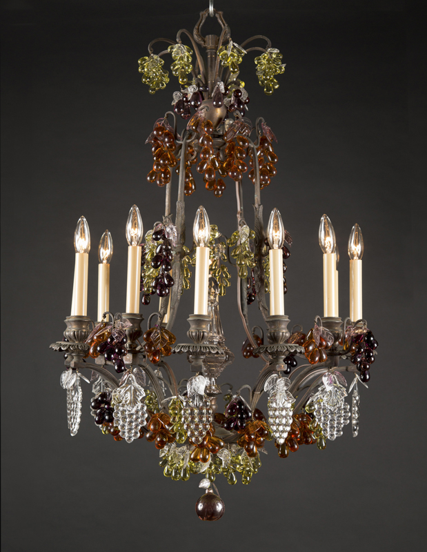 One of a pair of belle epoque bronze colored fruit crystal one of a pair of belle epoque bronze colored fruit crystal chandelier aloadofball Images