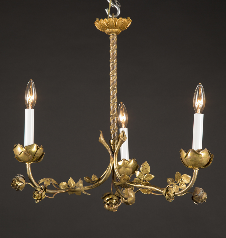 French Belle Epoque Unusually Delicate Three Light Bronze Foliate Chandelier With Rose Candle Cups And Buds Growing On Each Arm