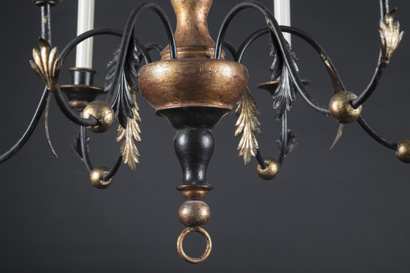 One of a pair of italian reproduction chandeliers french antique shop one of a pair of italian reproduction gilded wood and iron 5 light chandeliers aloadofball Image collections