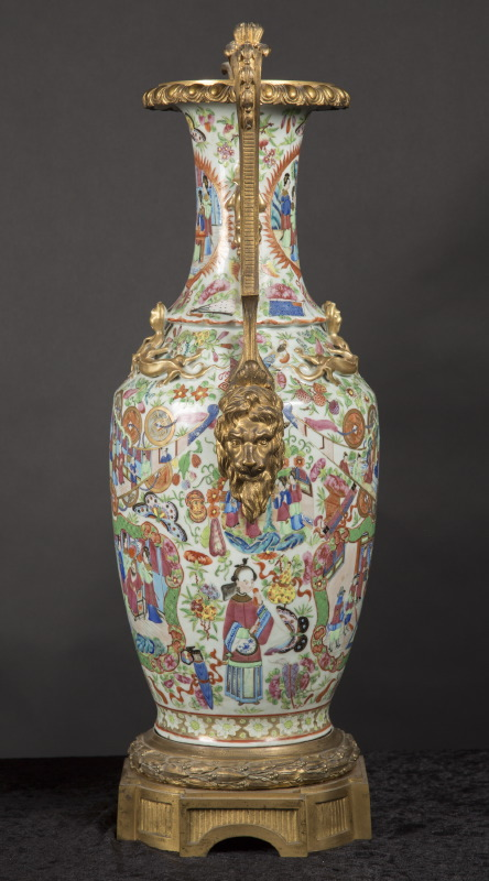 Pair Of 19th Century Chinese Rose Medallion Vases French